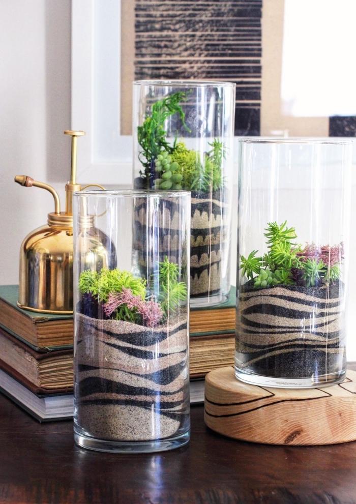 modèles de terrariums faciles avec plantes vertes, idée comment faire un mini jardin dans un récipient en verre