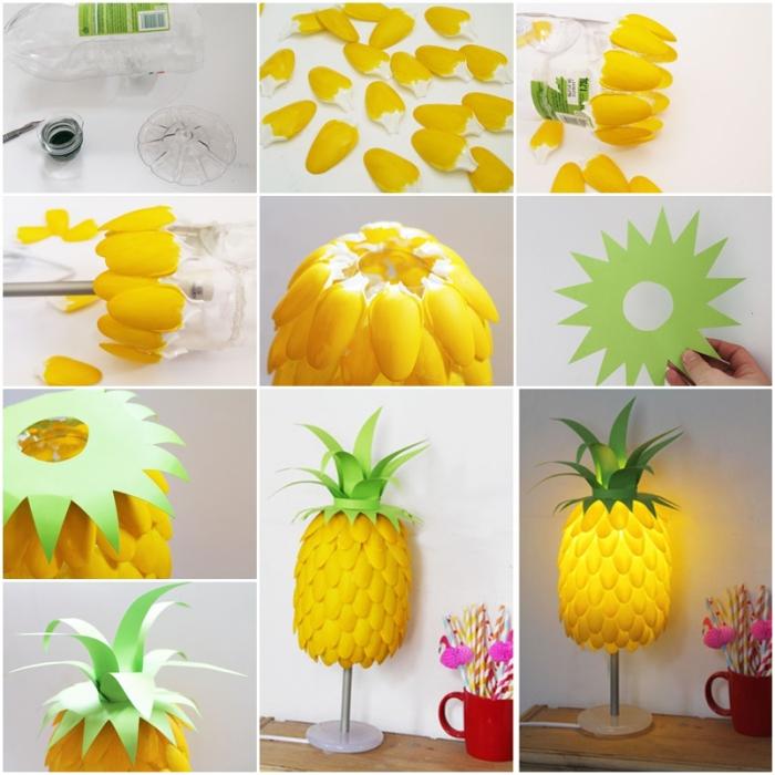 une lape diy ananas réalisée avec des cuillères en plastique et du papier, deco a faire soi meme recup