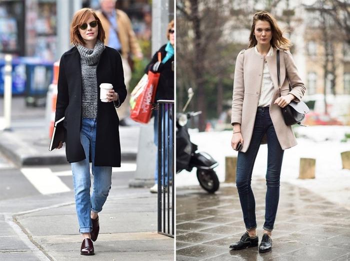 idée comment porter les derbys en vernis foncé avec une paire de jeans clairs et un manteau noir, modèle de chaussures derbies plates pour femme