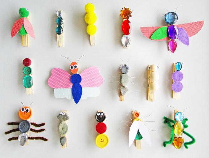 activité manuelle primaire pour détourner des pinces à linges en jolis personnages, bricolage récup pour enfants