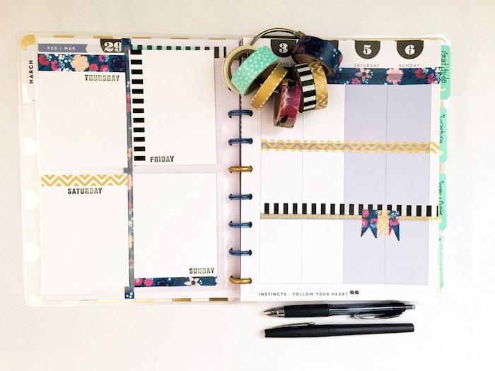 exemple agenda personnalisable avec des washi tape utilisés pour diviser le tableau avec les tâches et les engagements semainier