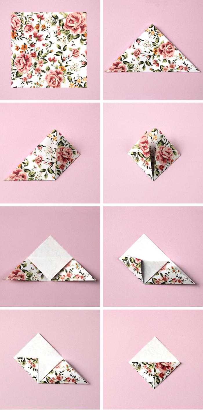 comment faire un marque page de type coin de page en papier motif fleuri à plier pour votre agenda scolaire stylé