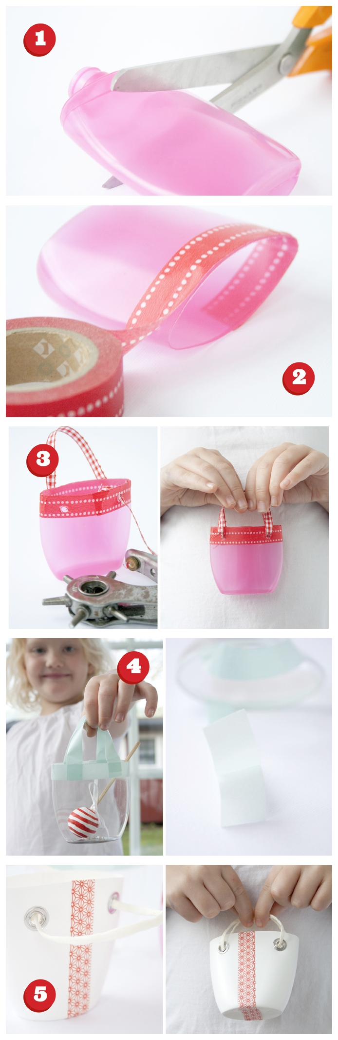 tuto bricolage facile et originale avec une bouteille en plastique transformée en mini-panier pour poupée