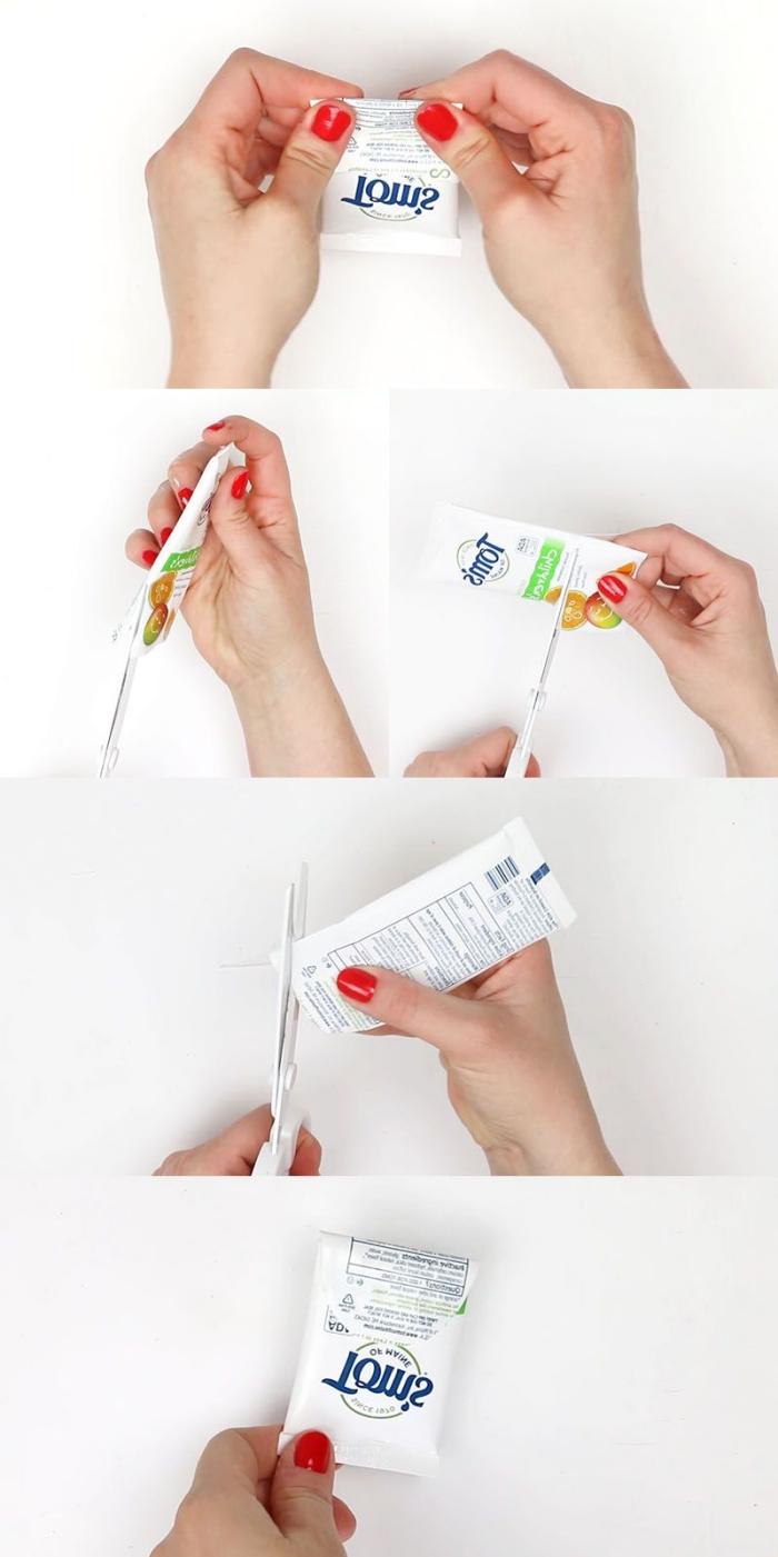 tuto bricolage récup avec des tubes en plastique transformées en pochettes vide-poches