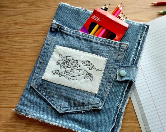 idée originale pour recycler ses vieux jeans, personnaliser son agenda ou son cahier avec une pochette en jean