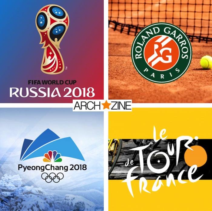 collage de logos des évènements sportifs majeurs de l'année 2018 avec la coupe du monde en russie, roland garros, tour de france et jeux olympiques en corée du sud