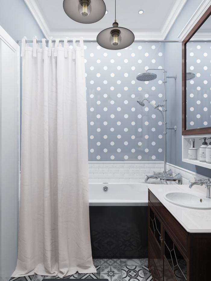 idée aménagement petit espace, décoration salle de bain 3m2 avec murs bleus et carrelage blanc et gris clair