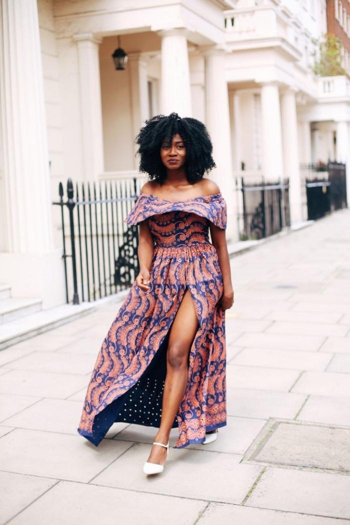 une robe bohème chic à col bateau volant motifs africains en tissu wax doublé, fente sur le devant, tenue africaine femme chic