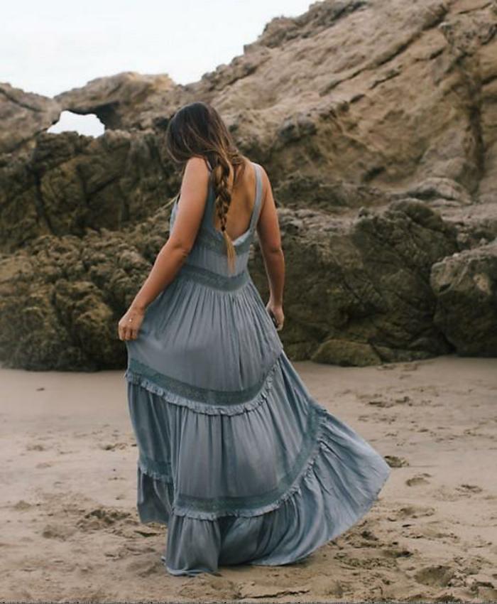 robe longue boheme chic en bleu petrole, robe dos nu dentelle, robe longue boheme chic, robe hippie chic dentelle