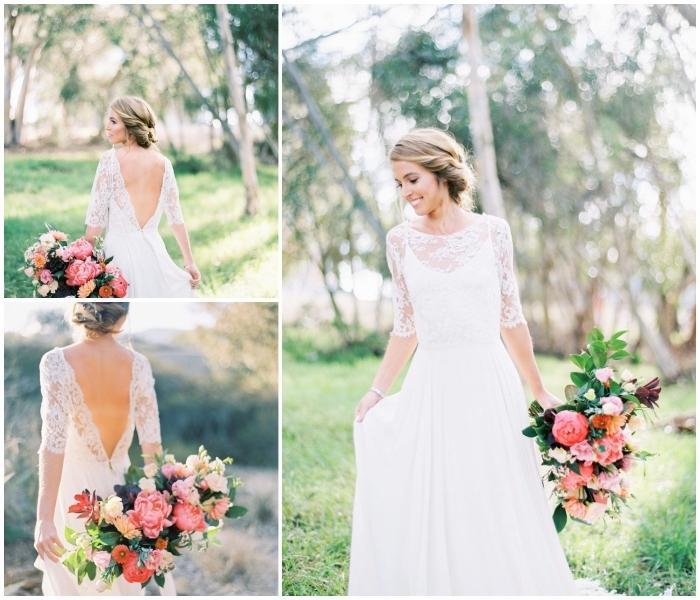 une robe de mariée bohème chic à décolleté plongeant en dentelle qui contrastie avec le design épuré de l'ensemble de la robe