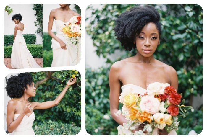 exemple de coiffure de mariée sur une coupe courte cheveux frisés, coiffure de style fausse crête avec cheveux attachés sur le côté et effet blow out