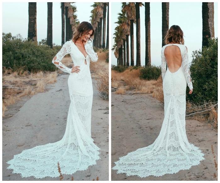 une robe de mariée dentelle dos nu épousant le corps avec longue traîne en dentelle, des manches longues et un décolleté de dos rond très sensuel