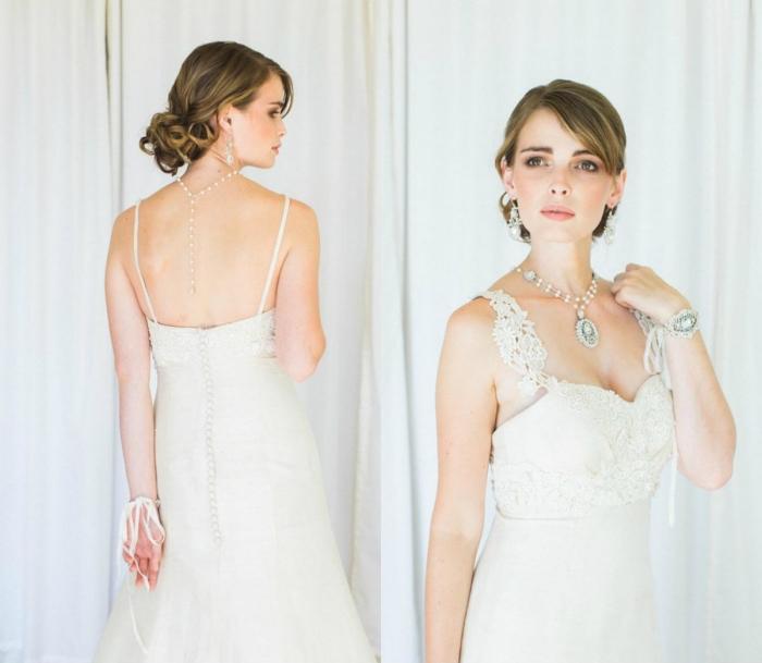 modèle épuré d'une robe de mariée empire à joli bustier recouvert de dentelle avec des bretelles fin en derrière