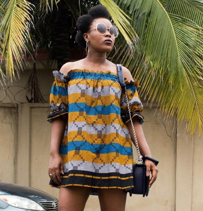 modele de robe africaine tunique aux épaules dénudées et au bustier élastique pour un look chic et décontractée