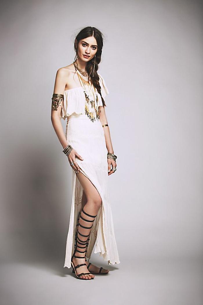 robe blanche boheme, robe champetre chic, vetement hippie chic, vetement boheme romantique, décolleté volanté