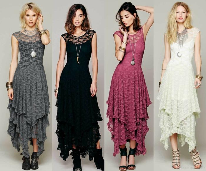 tenue boheme chic, vetement boheme romantique, quatre modèles de robes en dentelle hippie chic en gris perle, noir, rouge bourgoundi et blanc