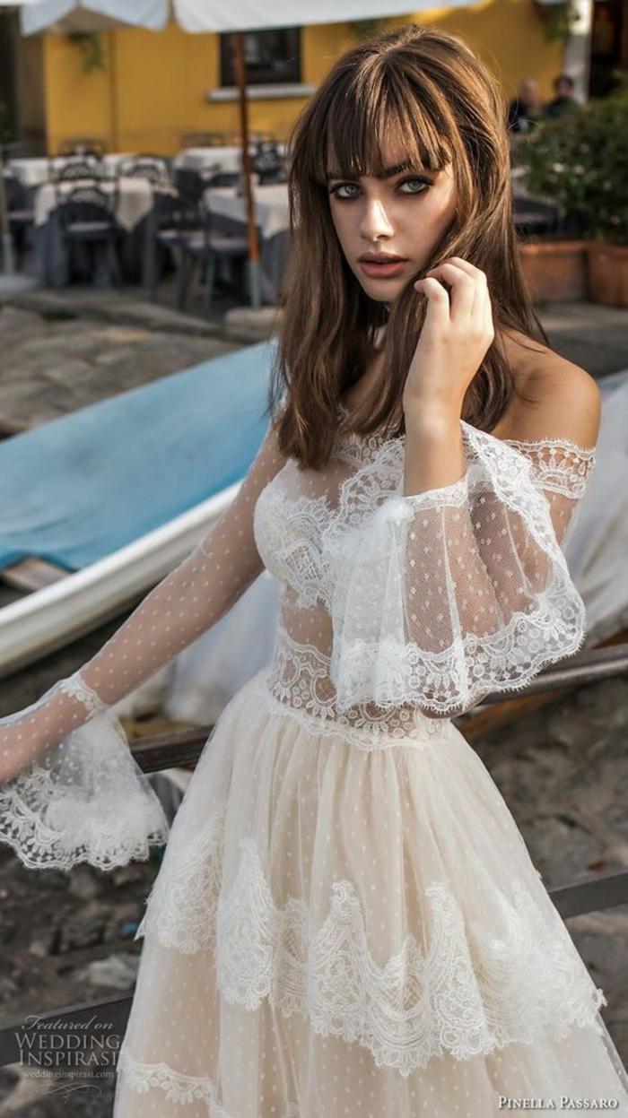 robe dos nu dentelle, robe boheme mariage, vetement hippie chic, épaules dénudées, robe blanche boheme, robe champetre chic