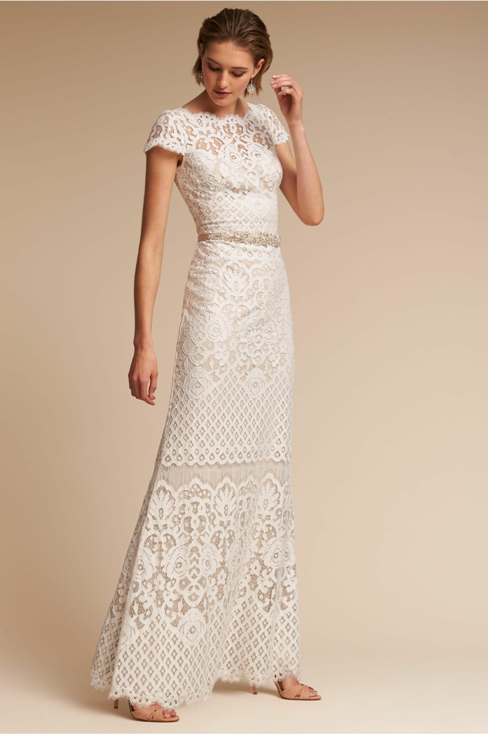 robe dos nu dentelle, robe boheme mariage, robe champetre chic, robe longue hippie chic, détails en dentelle blanche, effet de deux pièces, top et jupe taille haute