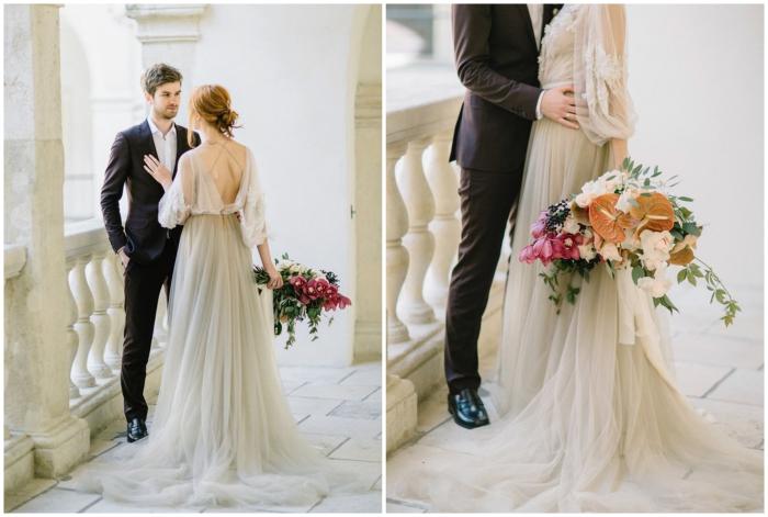 délicate robe de mariée bohème à manche longue bouffante et à bas fluide en tulle pour un look de mariée princesse
