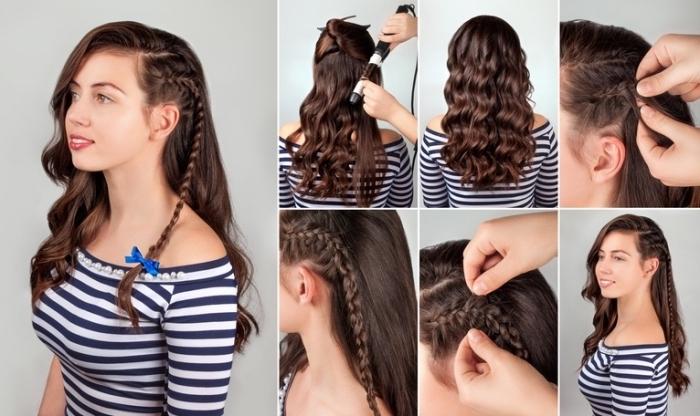 apprendre à faire une tresse de côté, modèle coiffure natte aux cheveux lâchés et bouclés avec une raie, comment boucles ses cheveux