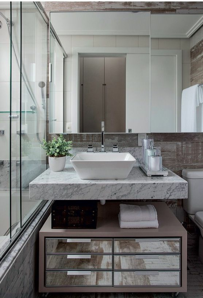 1001 id es pour une d co salle de bain zen salle de for Salle de bain marbre blanc