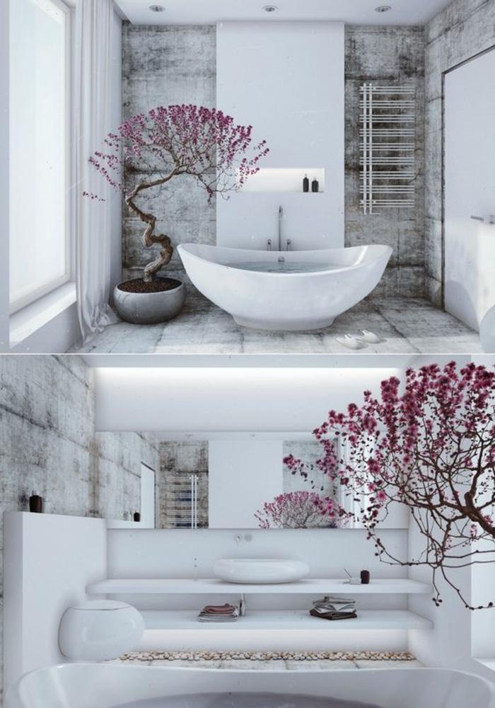 modele carrelage salle de bain, baignoire blanche ovale, arbre en style japonais, cerisier aux fleurs roses, murs recouverts de marbre blanc et noir