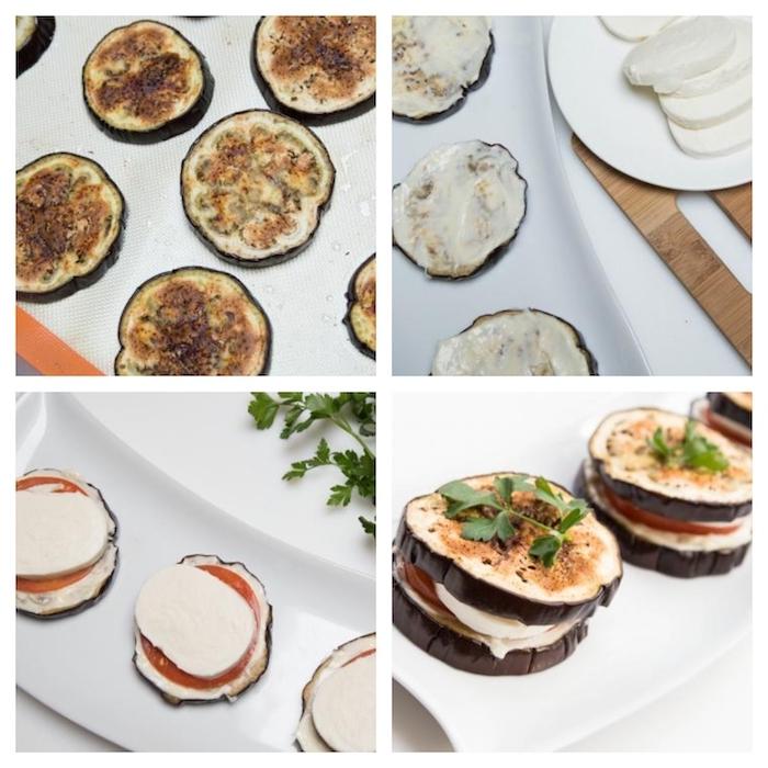 sandwitch aubergine, mozzarella, rondelles de tomates au four, aubergine tartiné de mayonnaise, recette etape par etape