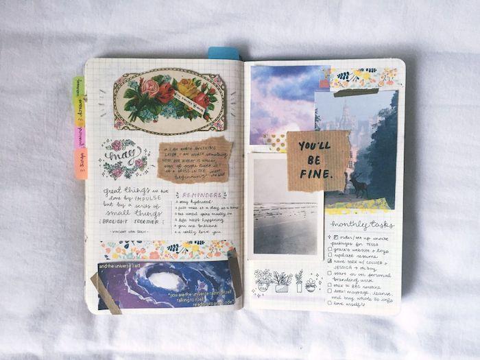 intercalaires colorés, scrapbooking bullet journal idées avec des photos, images collés et papier craft avec citations, petits dessins simples et bandes de washi tape colorées
