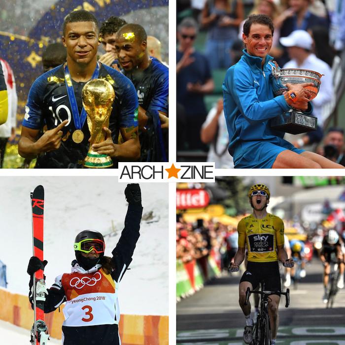 collage montage de victoires lors d'évenements sportifs de l'année 2018 avec kylian mbappé rafael nadal perrine laffont
