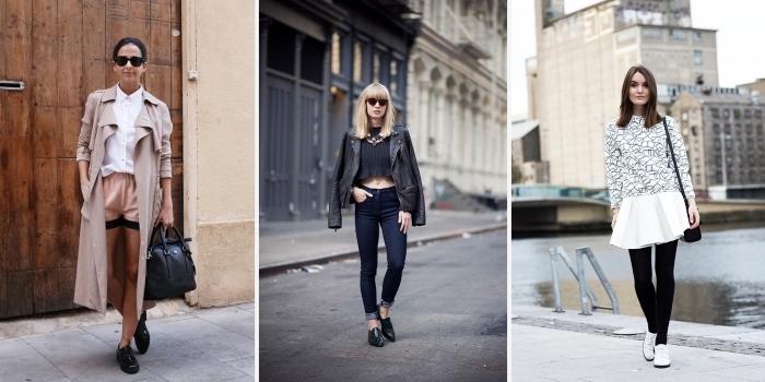idées comment assortir un look féminin avec chaussures derby, idée avec quoi porter des derbies noirs plats
