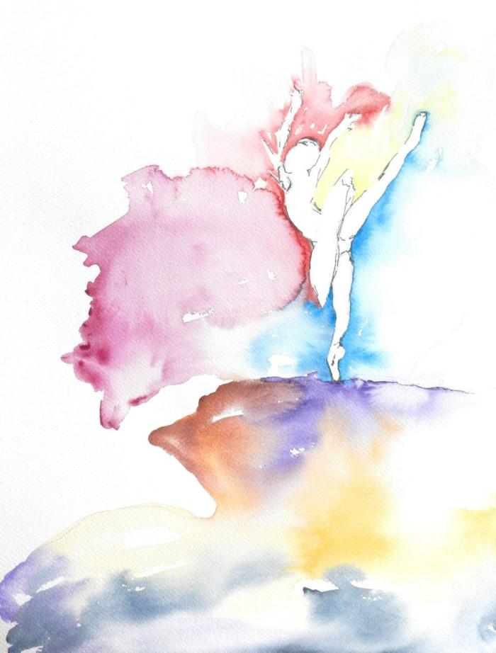 peinture facile et originale, illustration de ballerine à l'aquarelle
