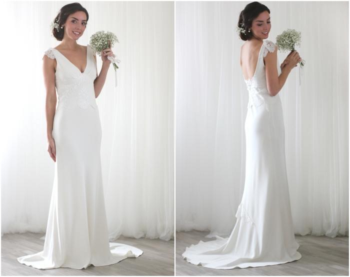 modèle fluide et léger d'une robe mariée dos nu qui s'arrête au-dessus de la taille, avec des manchettes romantiques en dentelle