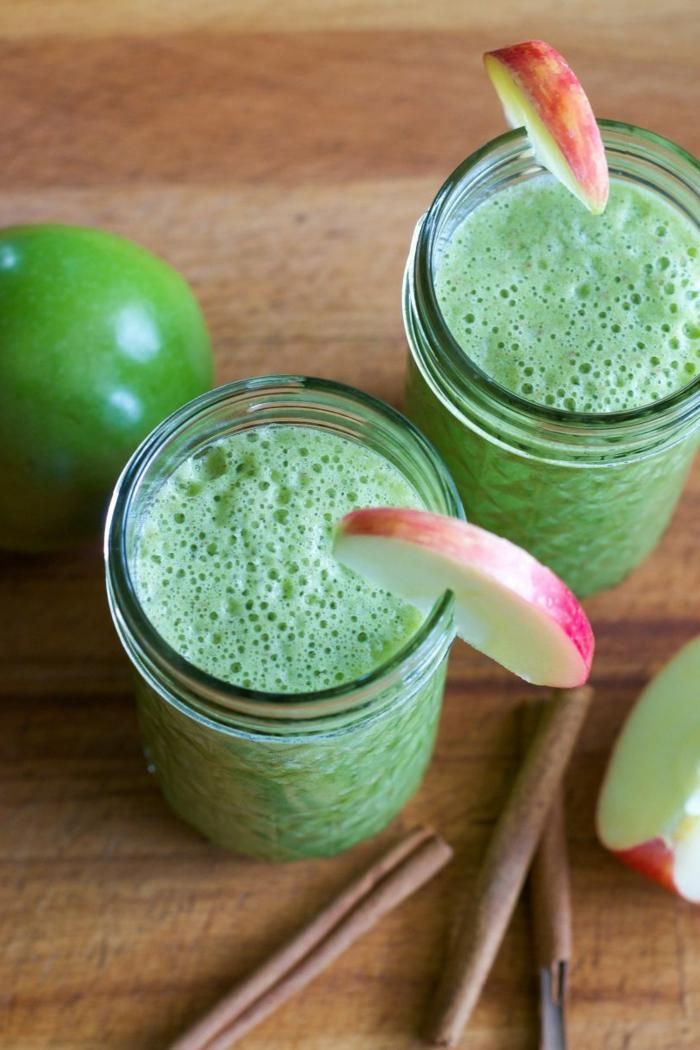 comment faire un smoothie maison, recette smoothie blender, pomme verte et banane