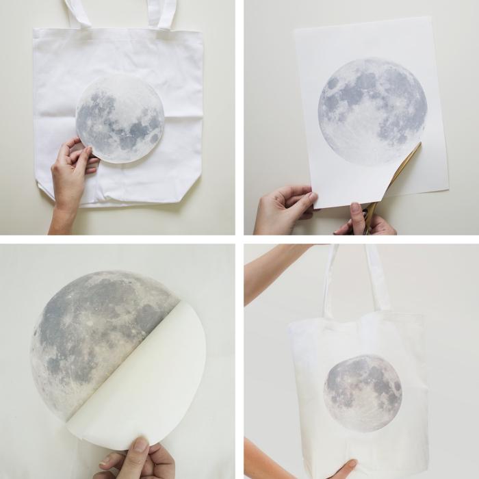 modèle de sac à main blanc personnalisé avec un sticker autocollant à design lune, technique transfert sur textile