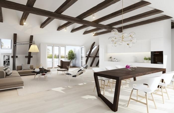 exemple comment intégrer poutre bois dans une déco minimaliste, modèle de plafond moderne en blanc avec poutres foncées de bois