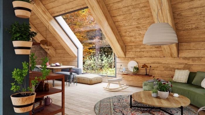 déco sous pente de style rustique avec revêtement mur et plafond en bois, idée rangement fleur sur mur vertical, modèle plafond avec poutres apparentes