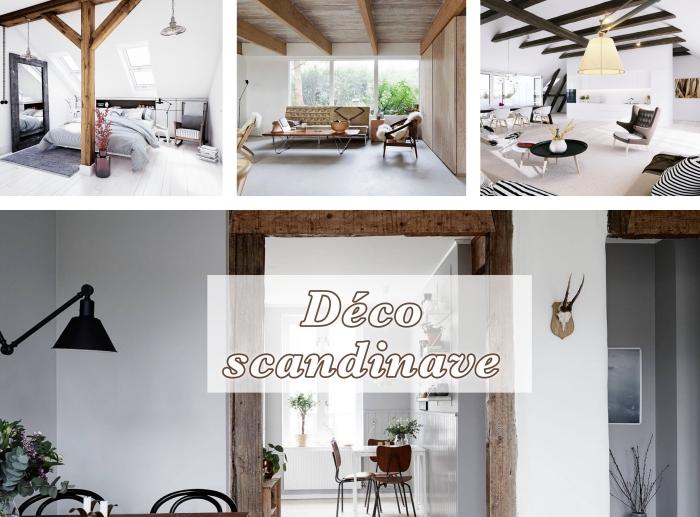 design intérieur tendance 2018 de style scandinave, idée comment aménager son appartement moderne, déco minimaliste avec poutre bois apparente