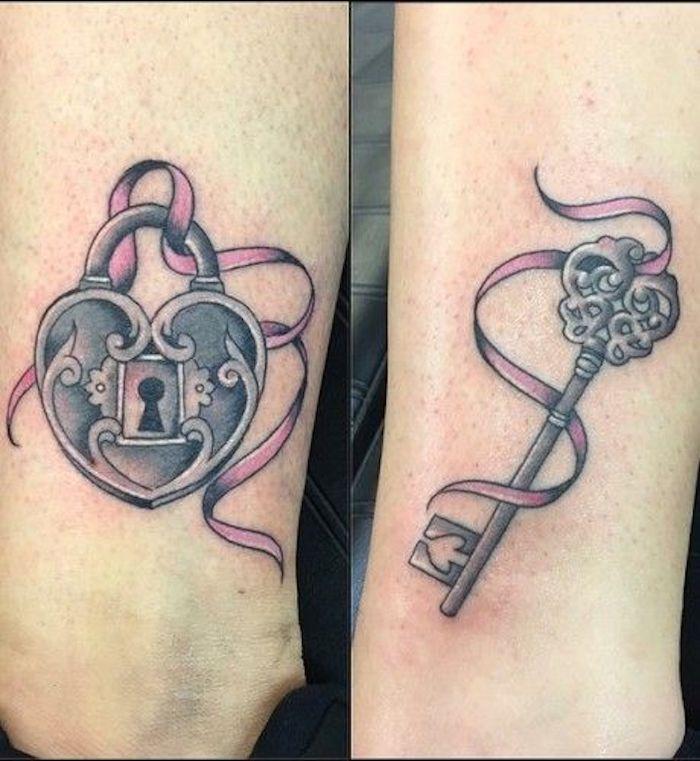 tatouage complémentaire cadenas tatouage symbole, se tatouer avec sa copine en tatouage romantique