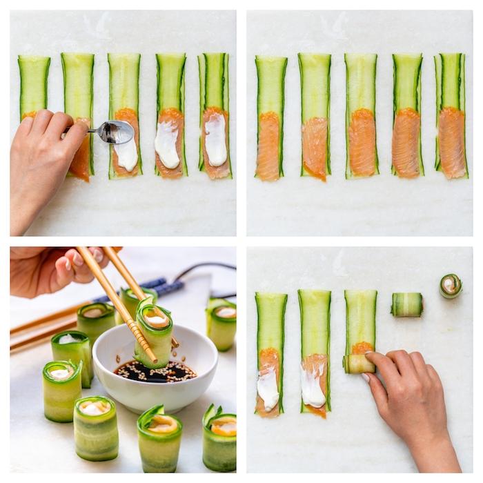 sushi sans riz en concombre avec de la creme fraiche epaisse ou ricotta et saumon fumé avec sauce de soja