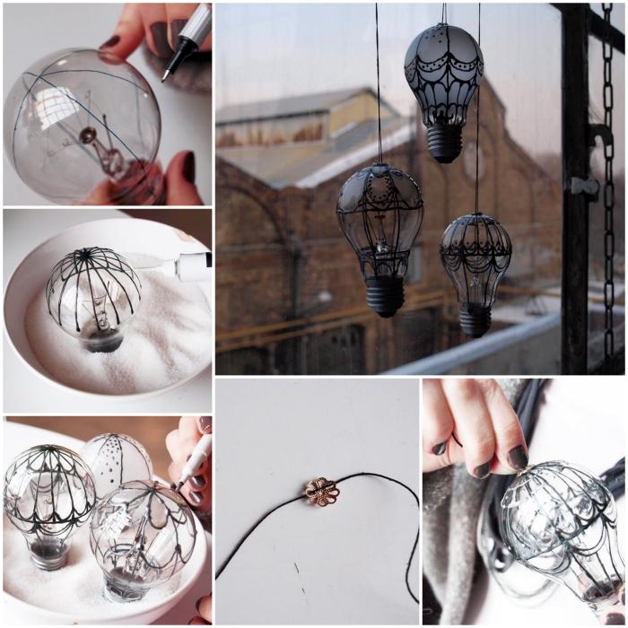 deco recup facile avec des ampoules montgolfières récup, idée de bricolage avec des amoules