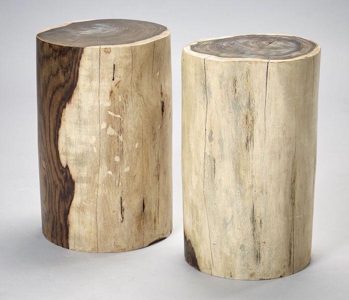 troncs d'arbre coupés en rondin pour table basse ou tabourets dans déco nature