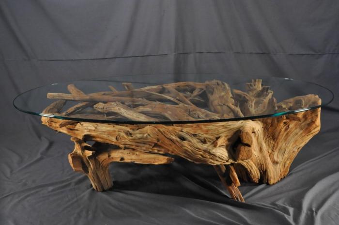 table basse bois flotté, création unique et un meuble au design artistique, piétement bois flotté