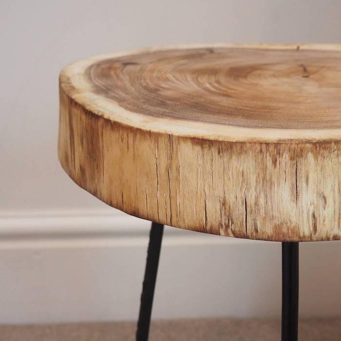 modele de table basse tronc d arbre simple en bois naturel sur pieds en métal