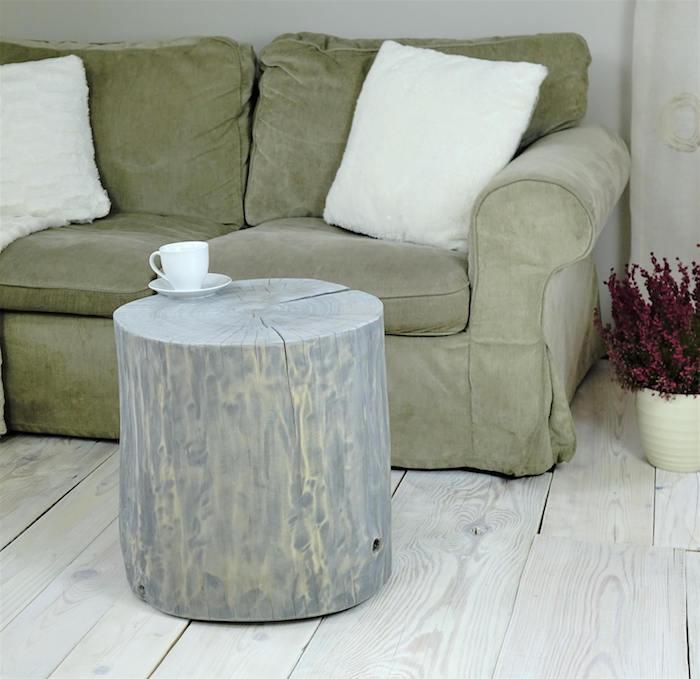 tronc d arbre deco poncé et peint en gris comme table basse rustique déco scandinave