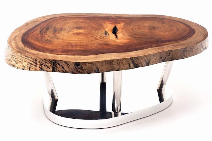table basse bois massif design vernis sur support pied en métal chromé