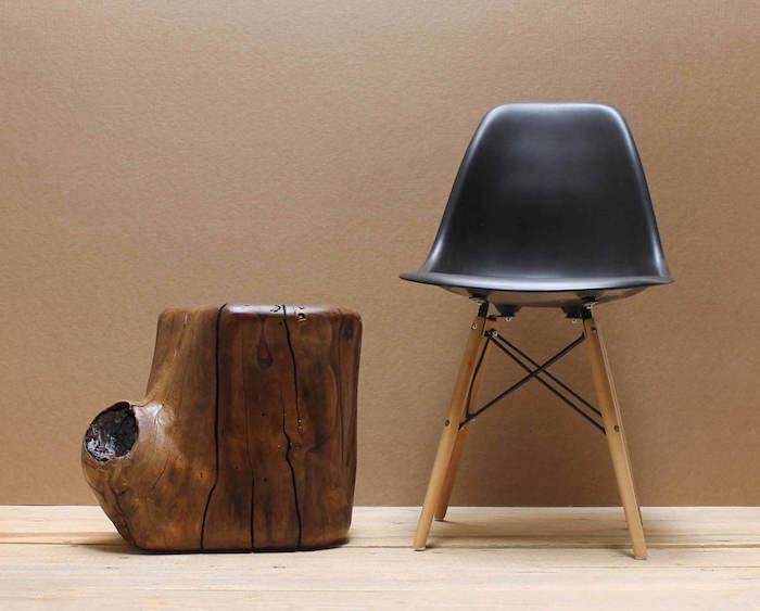 table basse bois brut en noisetier vernis pour meuble déco naturelle scandinave