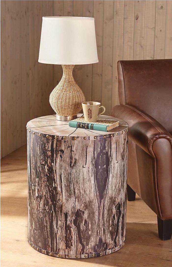 table basse tronc d arbre rustique pour déco style nature avec rondin de bois