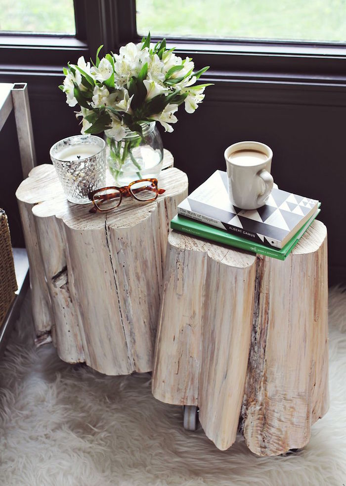duo de tables basses en bois blanc poncé sur roulettes pour déco scandinave nature