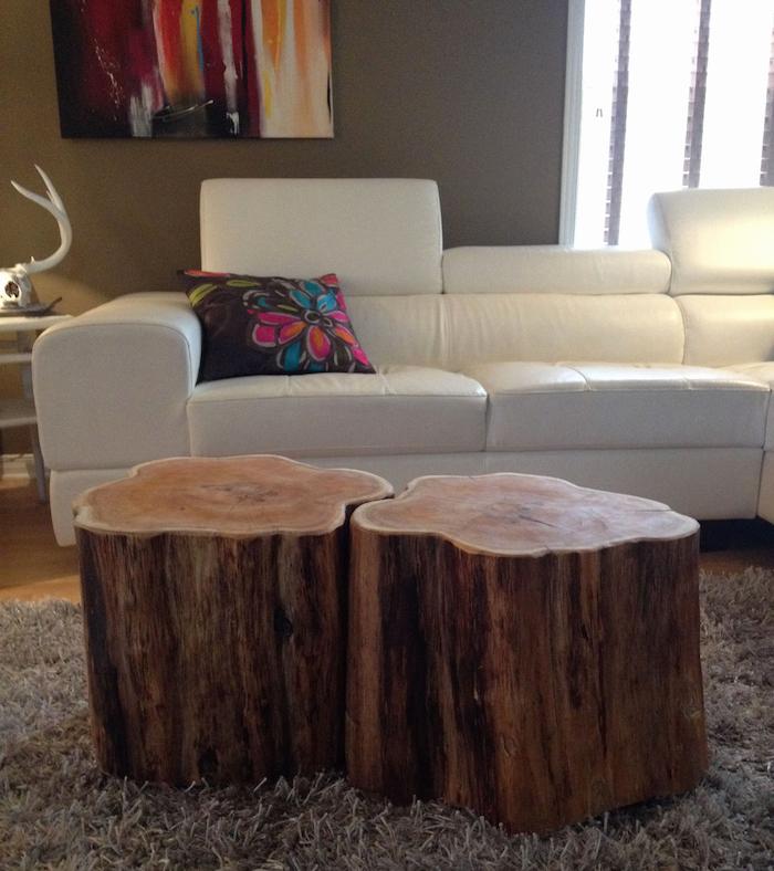 rondins de bois en forme de fleurs pour table basse amovible tronc d'abre