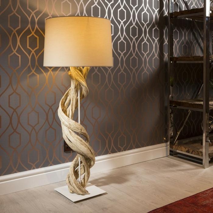fabrication d'objets en bois flotté, lampe bois flotté, papier peint gris anthracite